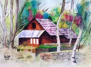 Home in forest/Дом в гората-33.5x23.5 cm