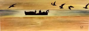 Fishermen -42x15 cm